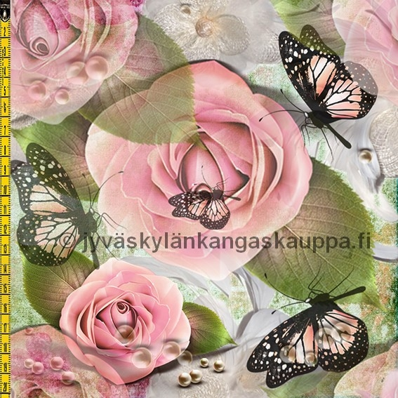 Digiprintti trikoo Pink Roses and Butterflies