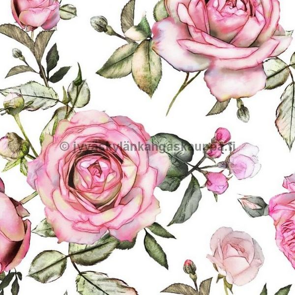 Digiprintti trikoo Romantic Roses