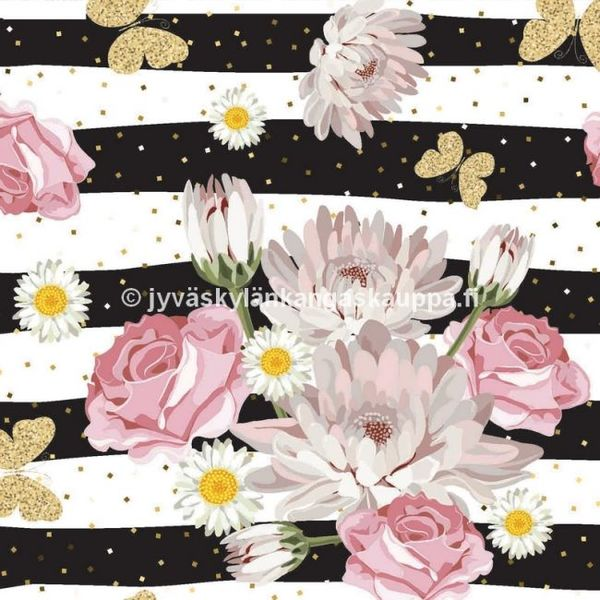 Digiprintti trikoo Striped Flowers and Butterflies